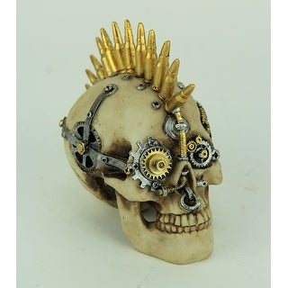 Steampunk Rock Skull with Bullet Mohawk Statue - 5.5 X 5.75 X 3 inches