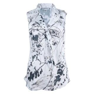 Tahari Women's Petite Floral-Print Tie-Neck Shell Top (PXL, Ivory White/Black) - ivory white/black - pxl