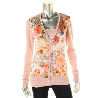 Basler Womens Heathered Floral Print Sweater Twinset - 40