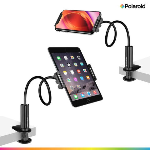 Polaroid Gooseneck Tablet / Phone Holder with Secure Clamp, Flexible Arm and Table Grip - Black