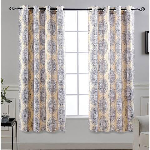 DriftAway Adrianne Pastel Damask Printed Room Darkening Grommet Window Curtain Panel Pair