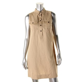 Lauren Ralph Lauren Womens Petites Linen Sleeveless Shirtdress - 12P
