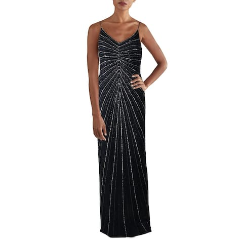Marina Womens Evening Dress Mesh Embellished - Navy