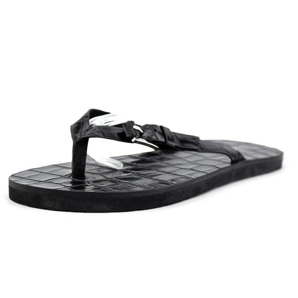 Michael Michael Kors Jocelyn Thong Women Open Toe Leather Black Thong Sandal