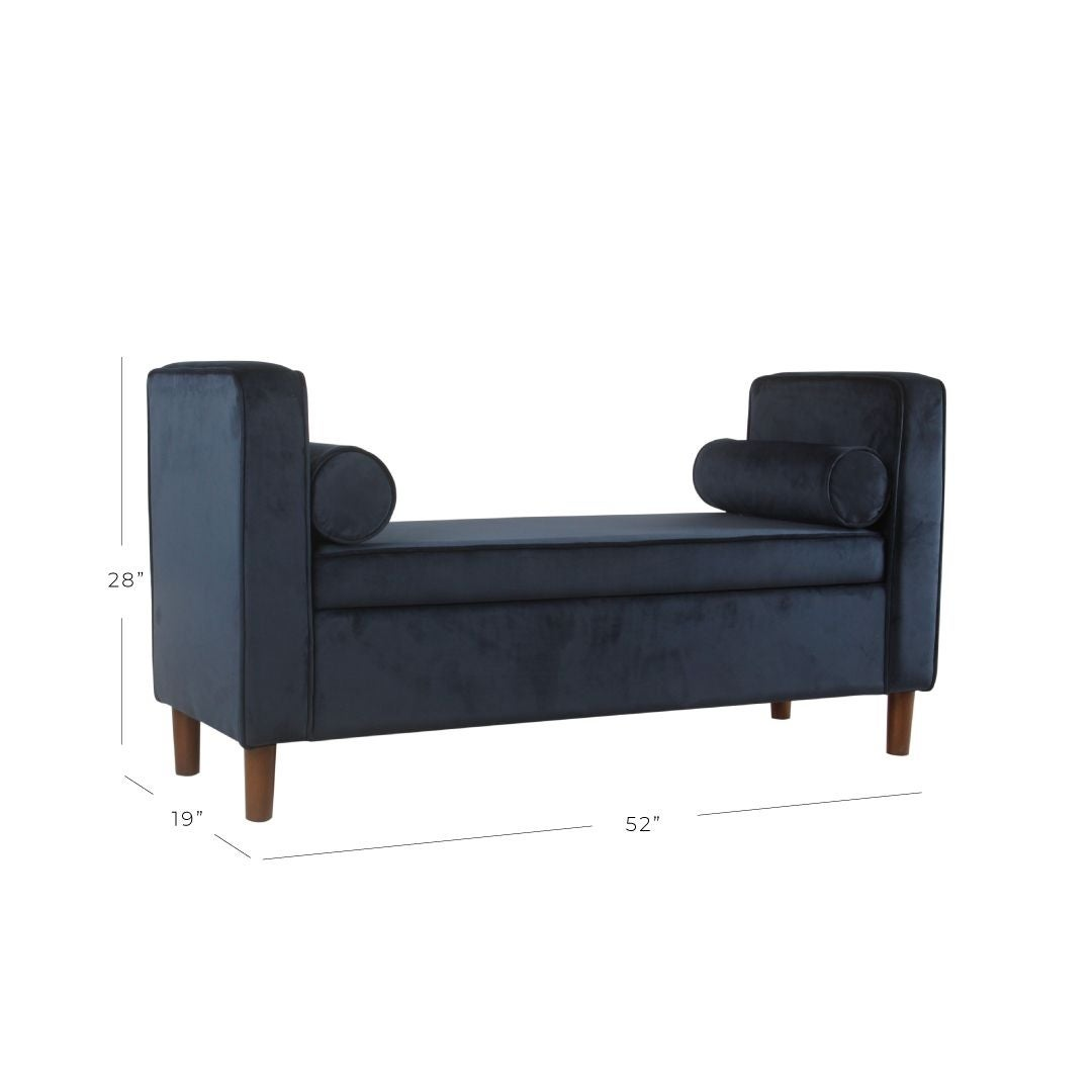 Carson Carrington Hamn Velvet Storage Bench Dark Navy Overstock 20594249