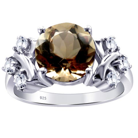 Smoky Quartz, Cubic Zirconia Sterling Silver Round Cluster Ring by Orchid Jewelry
