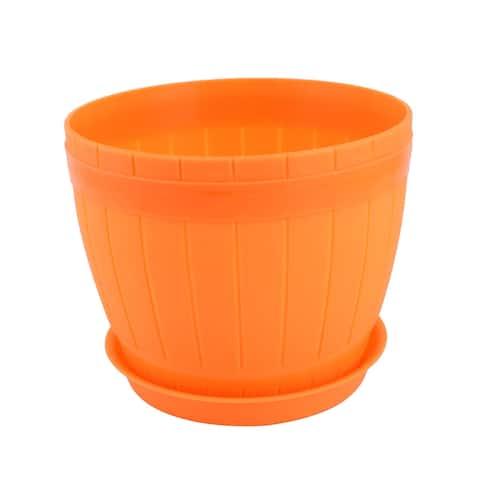 Home Plastic Cask Shaped Garden Decor Plant Vegetable Planting Holder Pot Orange