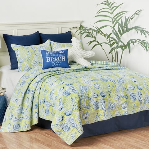 Fenwick Isle Green Coastal Quilt Set