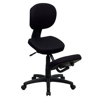 Offex Mobile Ergonomic Kneeling Posture Task Chair in Black Fabric with Back [OF-WL-1430-GG]