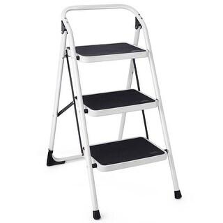 Costway 3 Step Lightweight Ladder HD Platform Foldable Stool 330 LB Cap. Saving Space - Black