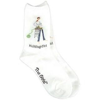 Knitting Girl - White - The Girls Socks