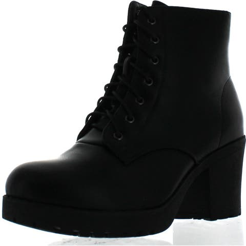195315d34778 Refresh Club-02 Women's Lace Up Side Zip Platform Chunky Combat Ankle  Booties