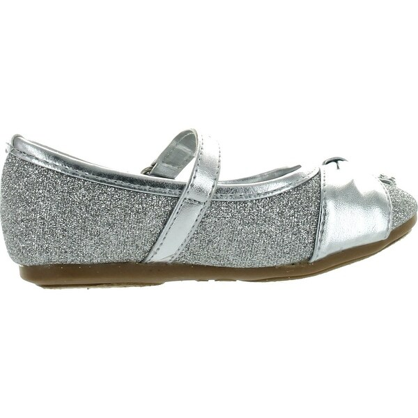 Little Angel Girls Teshi-729D Toddler Girls Glittering Middle Strap Studded Dress Flats