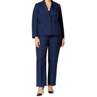 Le Suit NEW Blue Women's Size 22W Plus Two Button Textured Pant Suit