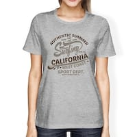 Authentic Summer Surfing California Womens Grey Short Sleeve Shirt