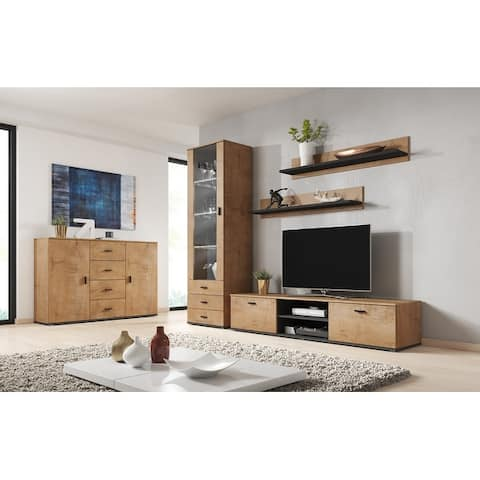 Soho 2 Modern Wall Unit Entertainment Center with 16 Color LED Lights