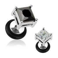 "Surgical Steel Square Diamond Cut CZ Prong Fake Plug (Sold Individually) - 16GA 1/4"" Long 8mm"