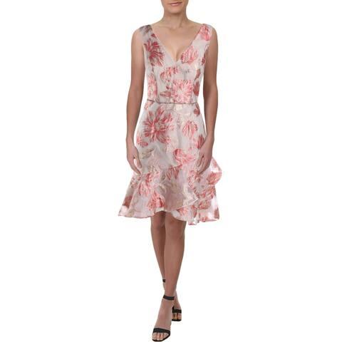 Carmen Marc Valvo Womens Cocktail Dress Metallic V-Neck - Pink