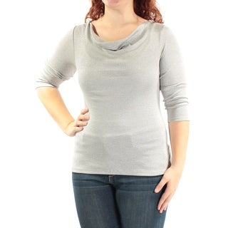 Womens Silver 3/4 Sleeve Cowl Neck Party Top Size XL