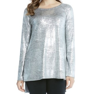 Karen Kane NEW Silver Women Medium M Metallic High-Low Raglan Blouse