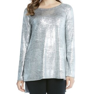 Karen Kane NEW Silver Womens Size Large L Metallic Tunic Hi-Low Blouse