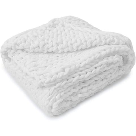 Cheer Collection Ultra Plush Chunky Cable Knit Throw Blanket