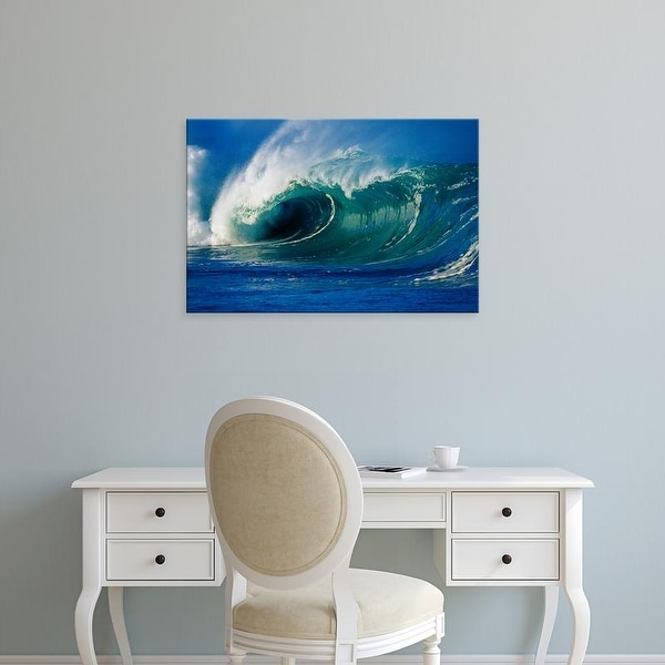 Easy Art Prints Panoramic Images's 'Waves splashing in the sea' Premium Canvas Art