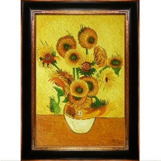 Vase with Fifteen Sunflowers by Vincent Van Gogh Framed Hand Painted Oil on Canvas