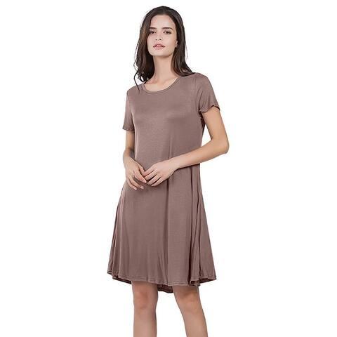 Loose Short Sleeve Round Neck Solid Color Pocket Dress
