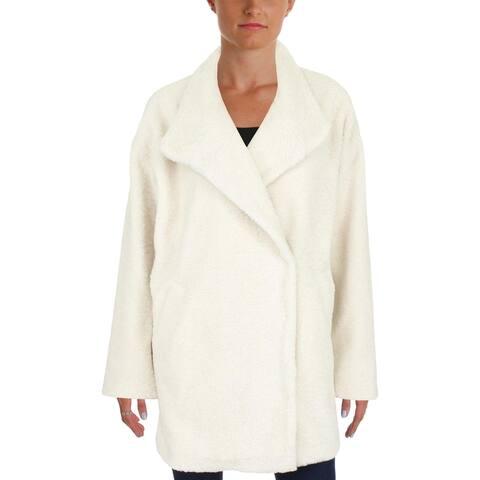 Aqua Womens Coat Faux Fur Shearling