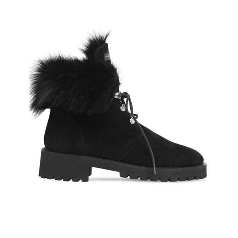 Giuseppe Zanotti Women's Suede Leather Fur Fold Boots Black