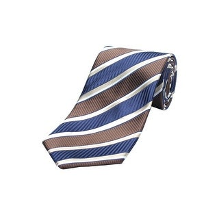 Versace Men's Silk Neck Tie N2040-0534 Brown And Blue Stripes