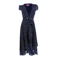 Betsey Johnson Women's Polka Dot Faux-Wrap Midi Dress - Navy/White - 2