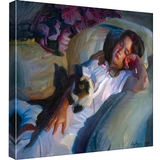 """PTM Images 9-97687  PTM Canvas Collection 12"""" x 12"""" - """"Young Girl With Cat"""" Giclee Children and Women Art Print on Canvas"""
