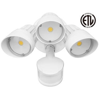 30W 3-Head Motion Activated LED Outdoor Security Light, 3000K/5000K , White