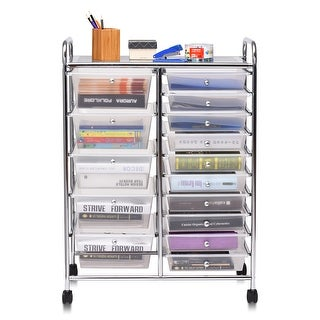 Link to Costway 15 Drawer Rolling Storage Cart Tools Scrapbook Cosmetics Paper - 24.5''x14.5''x34'' Similar Items in Office Furnishings
