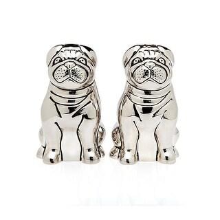 Pug Dog Salt & Pepper Set - Silver-plate Over Stainless Steel