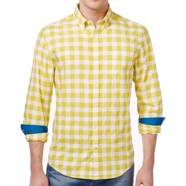 f2547d0e Shop Tommy Hilfiger NEW Yellow Mens XL Button Down Custom Fit Plaid ...