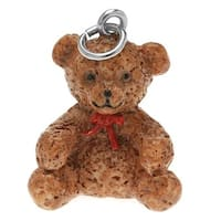 Hand Painted 3-D Cute Teddy Bear With Red Ribbon Charm 24mm Lightweight (1)