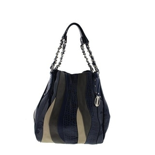 Carlos Santana Womens Melodia Faux Leather Colorblock Shopper Handbag - navy multi - Large