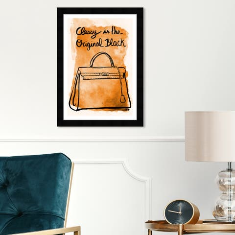 Wynwood Studio 'The Original Black' Fashion and Glam Wall Art Framed Print Handbags - Orange, Black