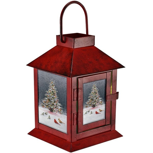 "6.4"" Red and White Christmas Tree Bird Gathering LED Lantern - N/A"