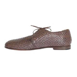 Dolce & Gabbana Pink Woven Leather Dress Formal Shoes - eu44-us11