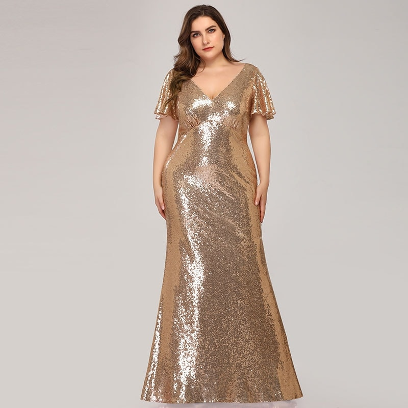 Ever-Pretty Womens Plus Size Sequin Bodycon Evening Dresses 07988