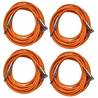 Seismic Audio 4 Pack of Orange 20 Foot Right Angle to Straight Guitar Instrument Cables