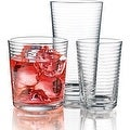 Palais Glassware Striped Collection; High Quality Striped Clear Glass Set - Thumbnail 0