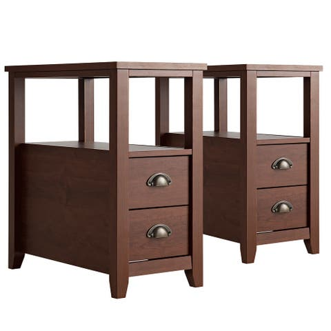 End Table with 2 Drawers and Shelf Space-Saving Bedside Table