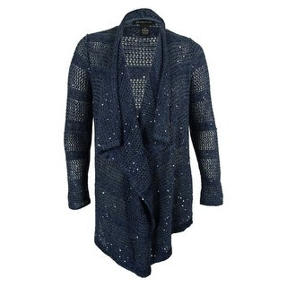 INC International Concepts Women's Sequin Drape-Front Cardigan