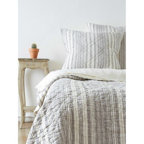 Allen Cotton/Linen Grey Striped Quilt Set