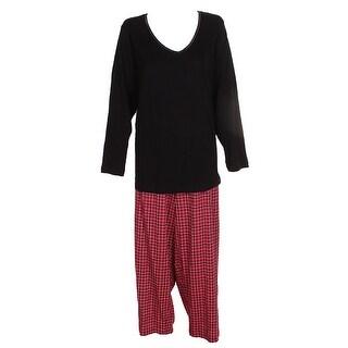 Charter Club Plus Size Black Red Lurex-Threaded Cotton Plaid Pajama Set 2X
